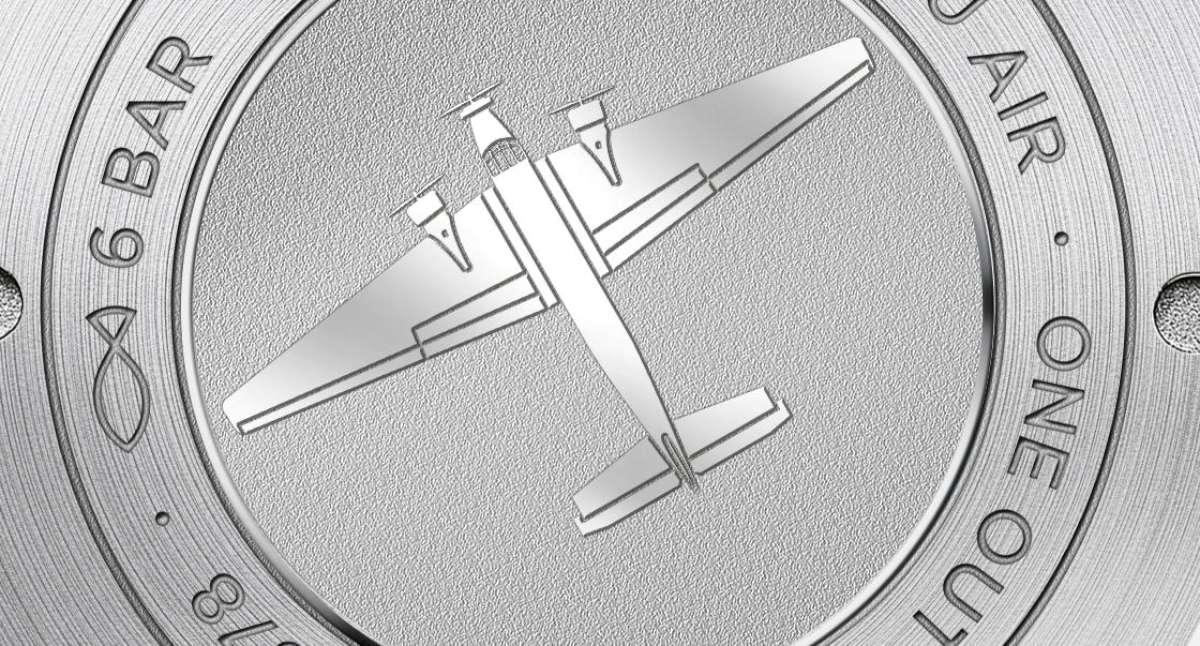 Detail of the Ju-52 image engraved onto the caseback
