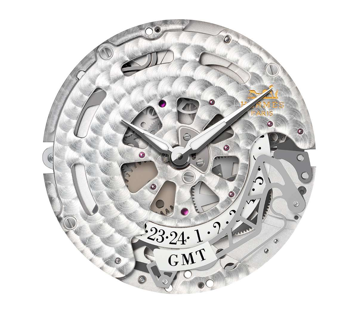 L'Heure Masquée by Hermès, dial side of the H1925 movement when the button in the crown is pressed, revealing the hour hand and the second time zone hour reading