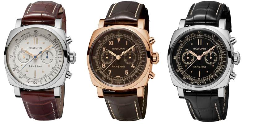 The Radiomir 1940 Chronograph, from left in platinum (PAM00518), red gold (PAM00519) and in white gold (PAM00520).
