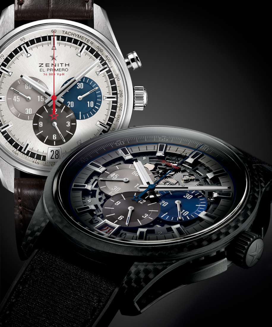 The original 1969 El Primero chronograph behind, with the new Lightweight in front, revealing the differences and the shared characteristics