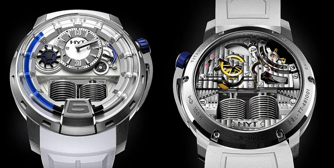 Another version of the HYT H1 Iceberg) showing the caseback and movement view