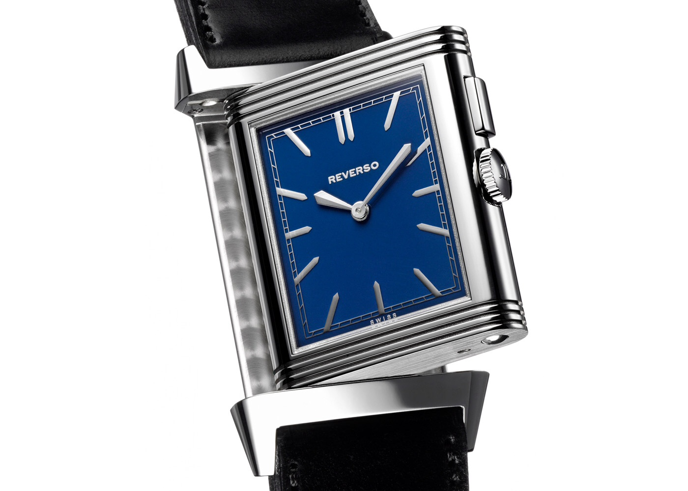 Front face of the Grande Reverso Ultra Thin Duoface Blue, 2013, (US$ 8,550)