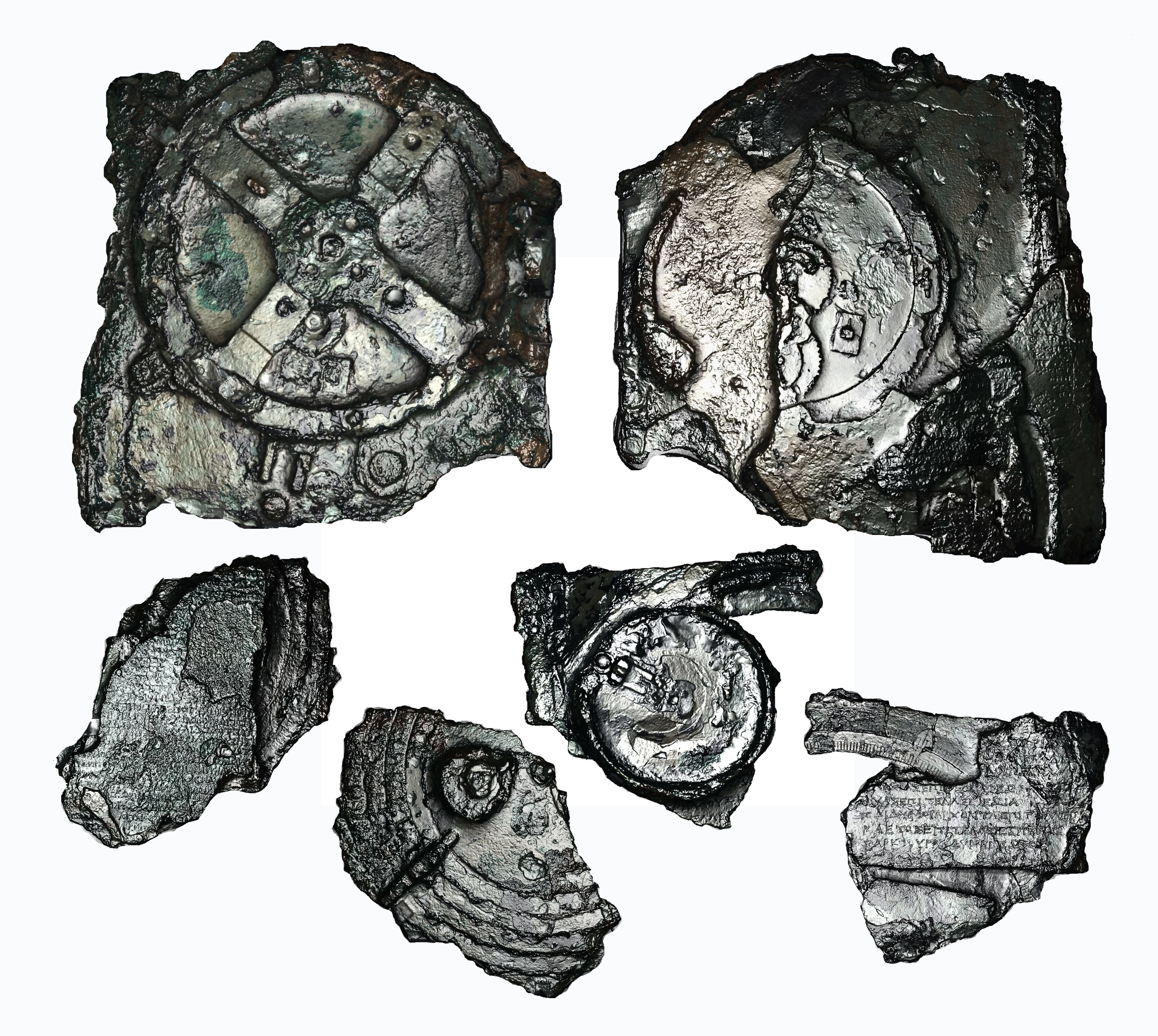 The ancient Antikythera, in an electronically enhanced image, courtesy of http://dlib.nyu.edu
