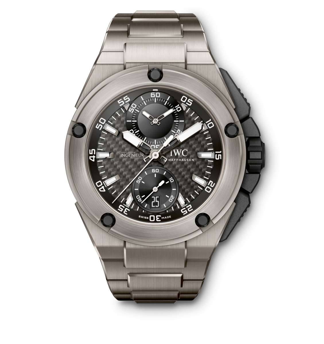 Lewis Hamilton's Ingenieur watch, with titanium bracelet and carbon dial