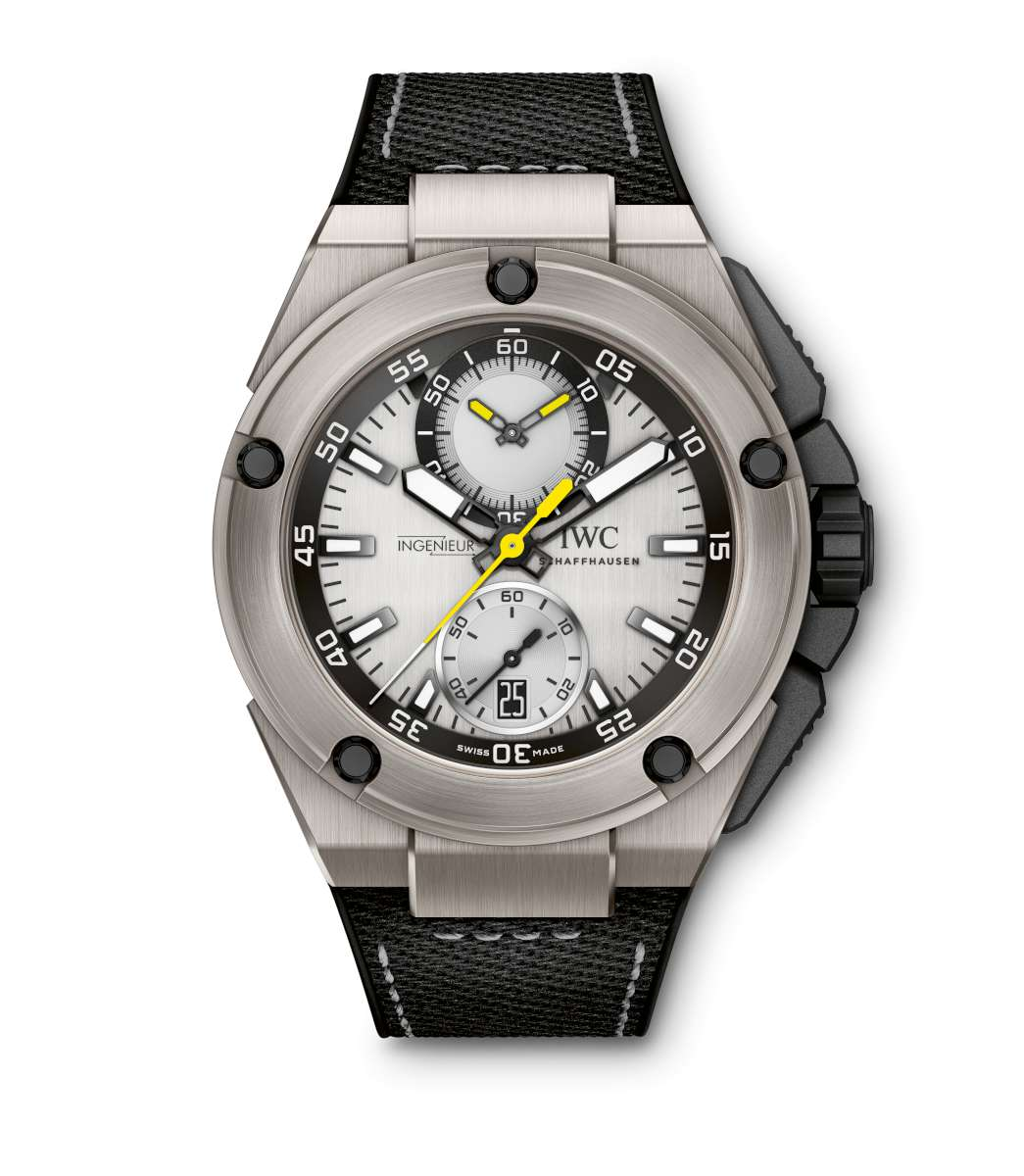 Nico Rosberg's Ingenieur watch, with silver-plated dial, titanium case and rubber strap