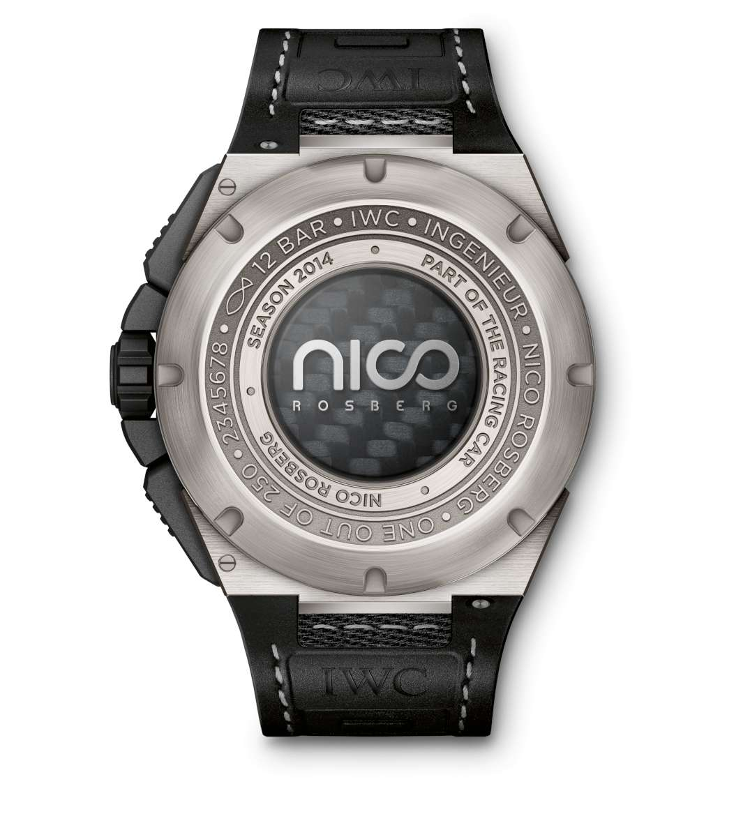 Nico Rosberg's Ingenieur watch, reverse, with medallion of carbon from a racing car, under a sapphire caseback with the driver's logo