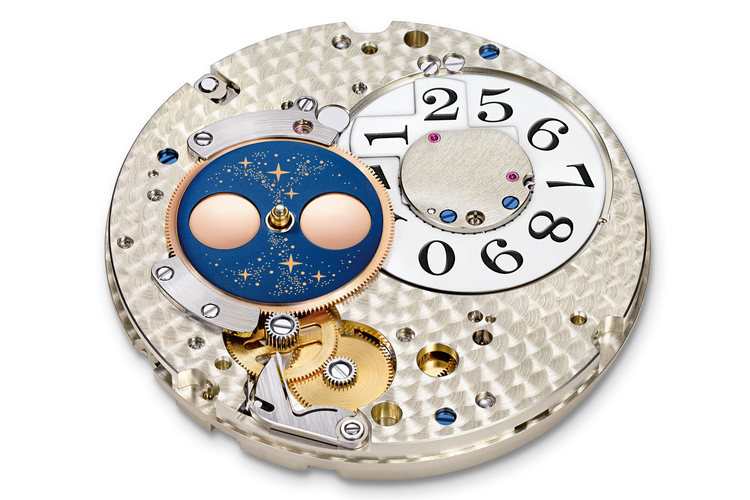 Movement dial side, showing the date mechanism and the moon phase disc