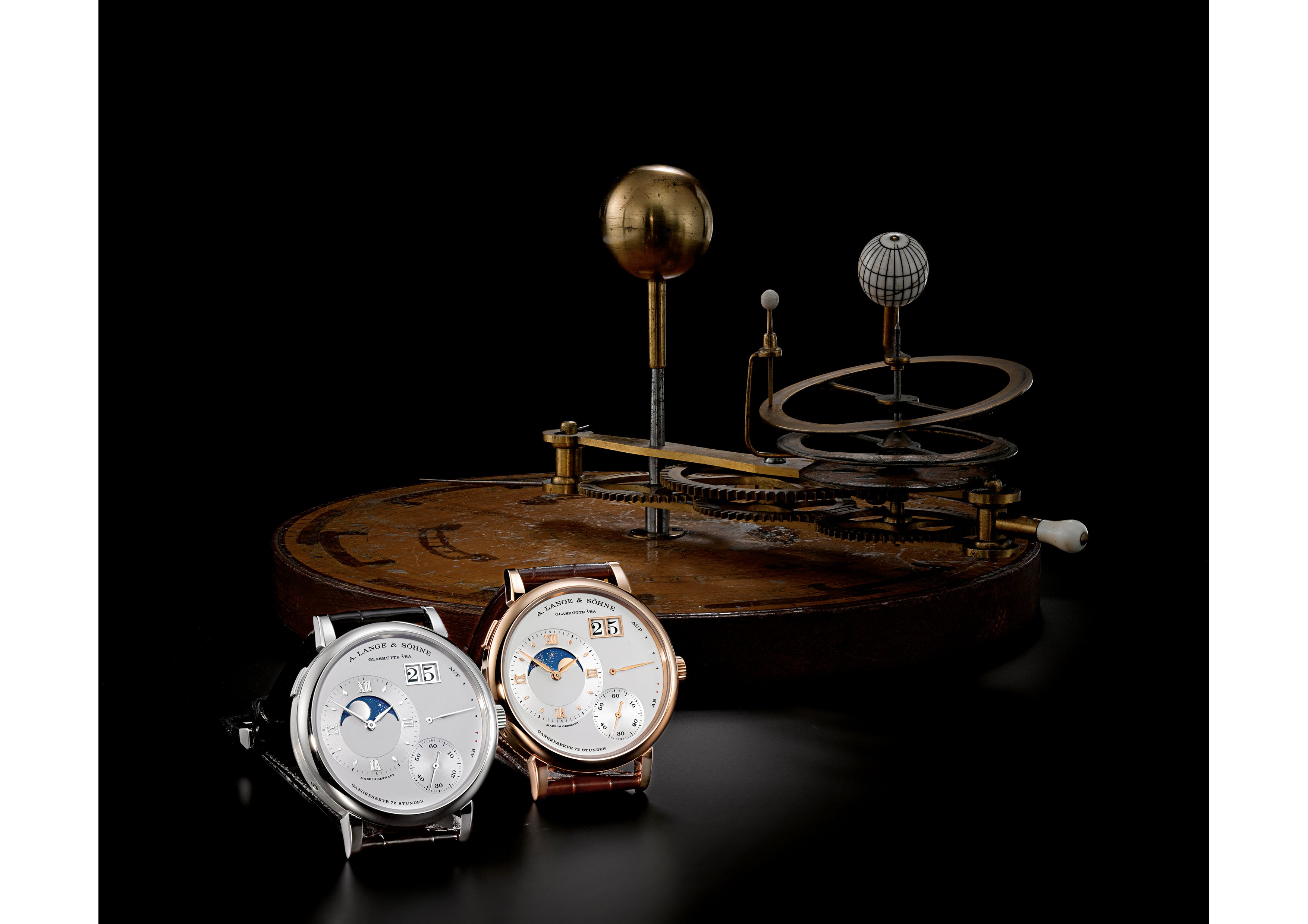 Two Grand Lange 1 Moon Phase watches in front of a tellurion, by William and Samuel Jones (London ca. 1800) at the Dresden Mathematisch-Physikalischer Salon