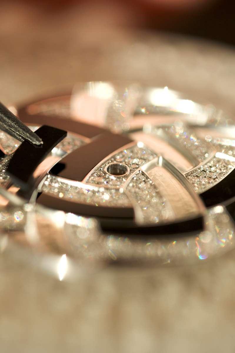 The Hermès Arceau Temari, marquetry in onyx and snow-set diamonds