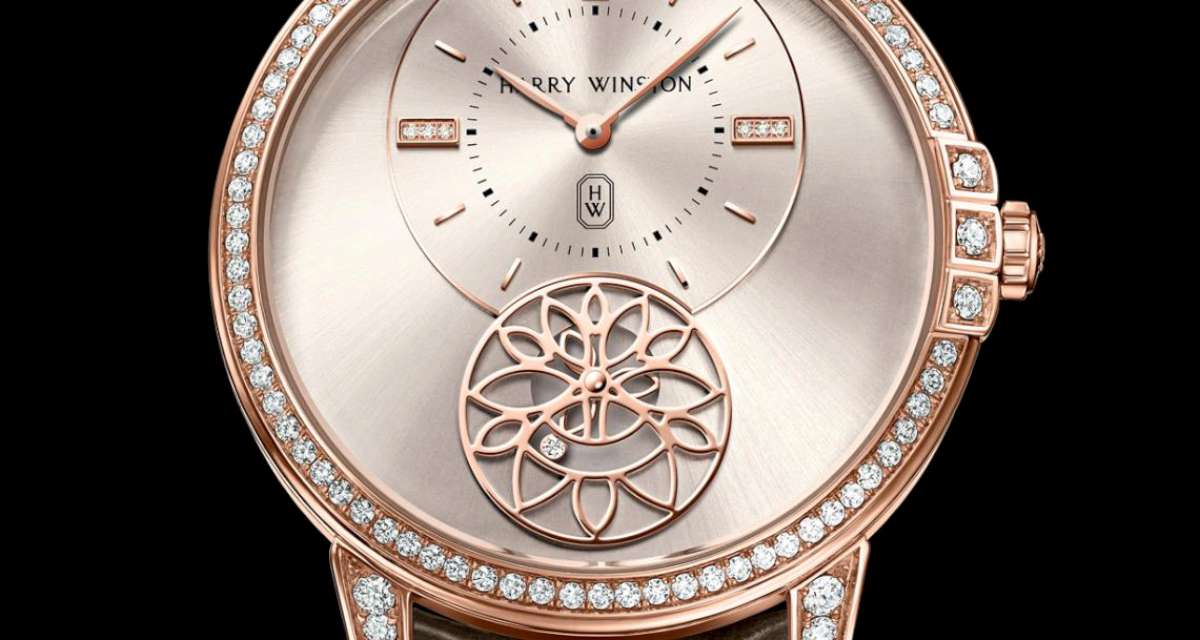 Harry Winston Midnight Diamond Second 39mm, automatic movement, detail of the small seconds indicator with the lily cluster motif and the three-petal rotor that rotates, so that one of the three diamonds at the tips of the petals is visible at any given moment