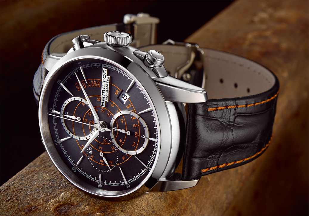 The Hamilton Auto Chrono, part of the RailRoad collection, reference H40656731