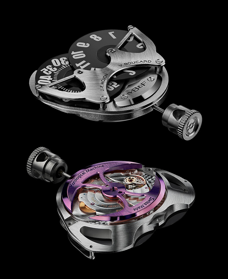 The movement seen from above, with the two flat discs, and below, with the purple gold oscillating weight
