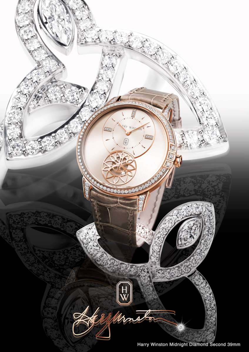 Harry Winston Midnight Diamond Second 39mm, an image showing the lily cluster motif that the brand uses in its jewellery collections