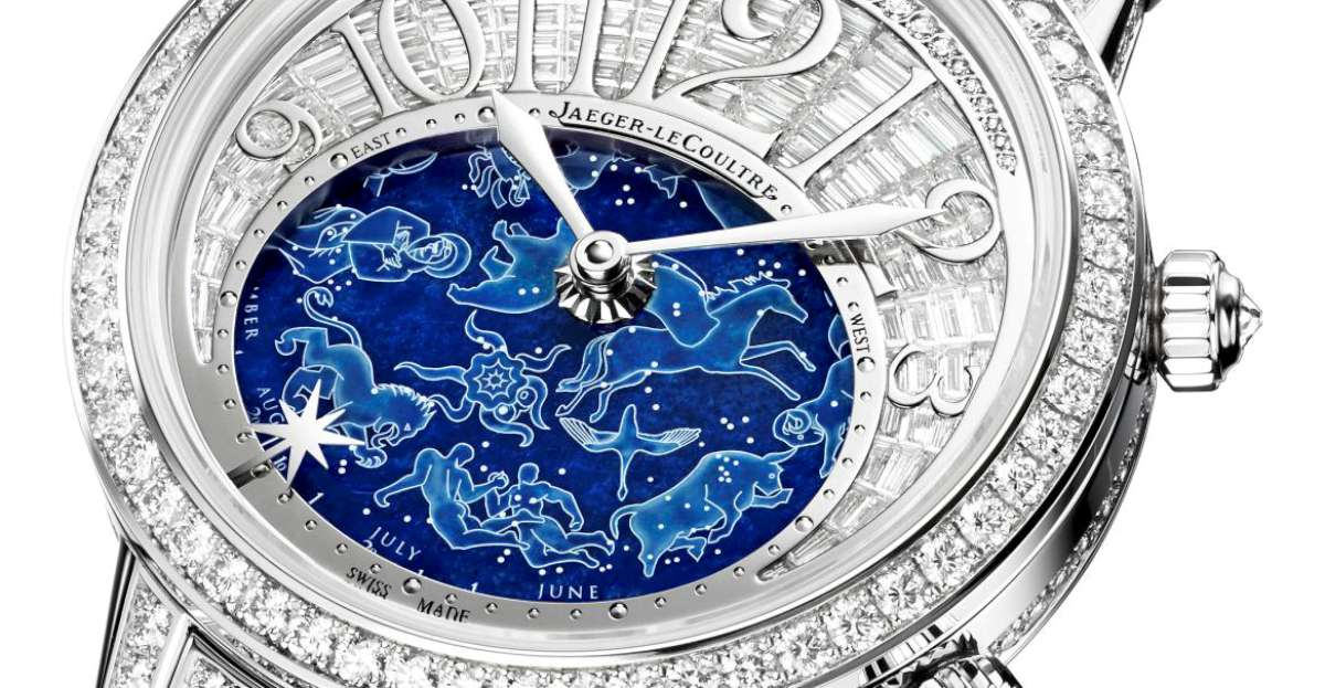 Jaeger-LeCoultre, Rendez-Vous Célestial, detail of the lapis lazuli rotating dial with star-sign constellations and months
