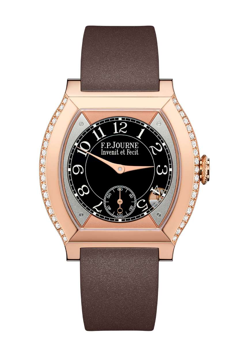 Élégante by F.P. Journe, version in gold, with chocolate-colour rubber strap. The motion detector can be seen at 5 o'clock.
