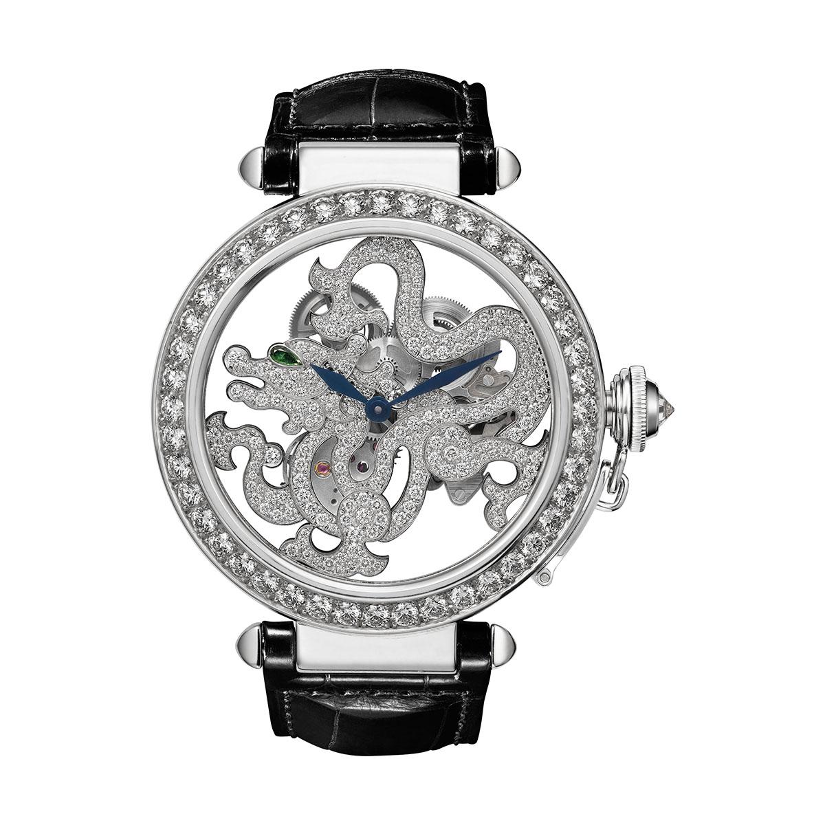 Pasha de Cartier Skeleton Dragon Motif watch, strap set with brilliant-cut diamonds; limited edition of 10 watchs, black alligator leather strap