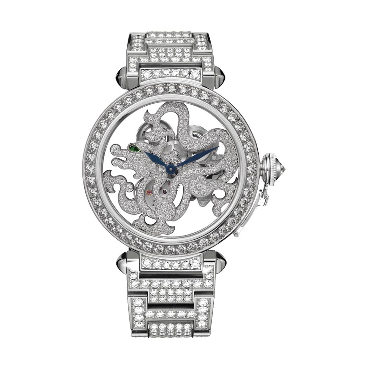 Pasha de Cartier Skeleton Dragon Motif watch, strap set with brilliant-cut diamonds; limited edition of 20 watchs, strap set with brilliant-cut diamonds