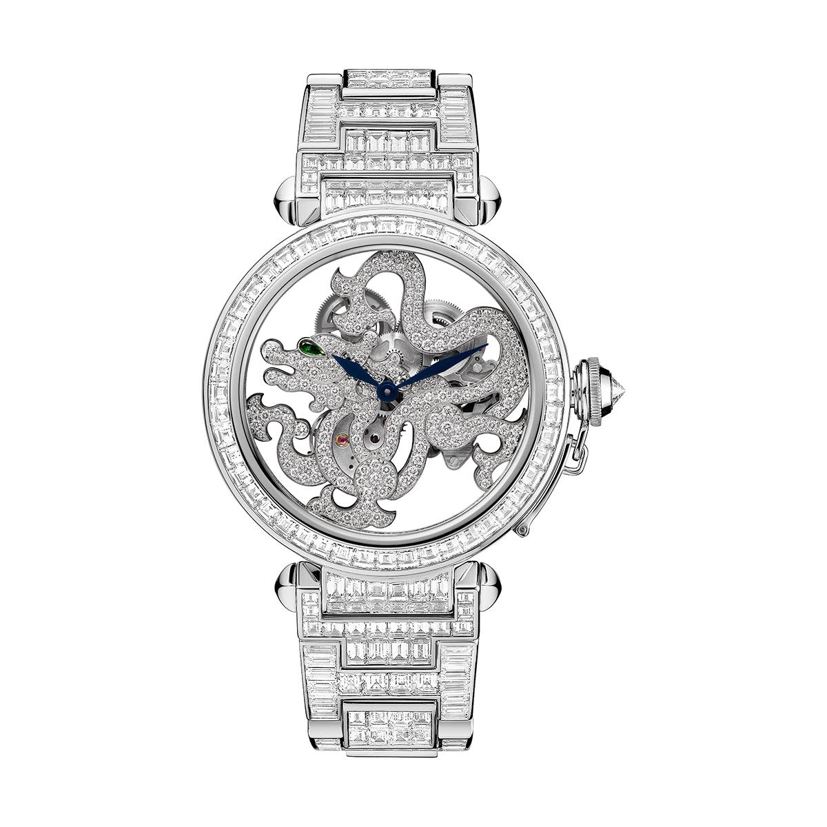 Pasha de Cartier Skeleton Dragon Motif watch, strap set with brilliant-cut diamonds; limited edition of 10 watchs, strap set with baguette diamonds