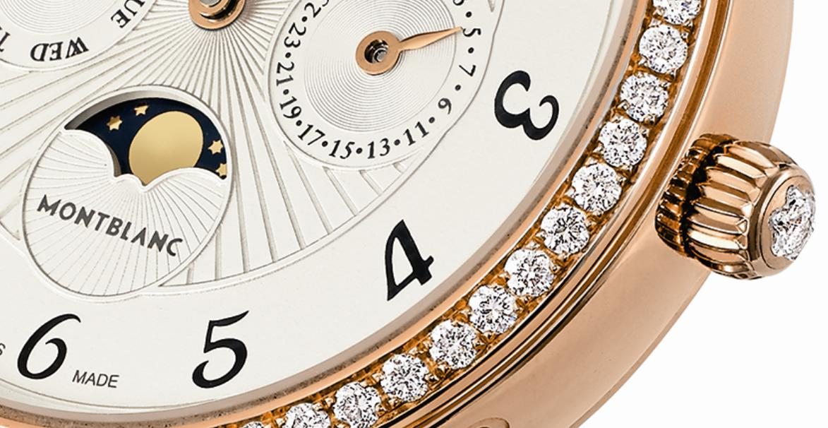 Montblanc Bohème Perpetual Calendar Jewellery, detail showing the Montblanc-cut diamond in the crown