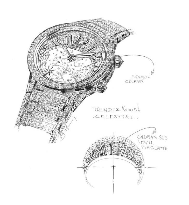 Jaeger-LeCoultre, Rendez-Vous Célestial, design drawing