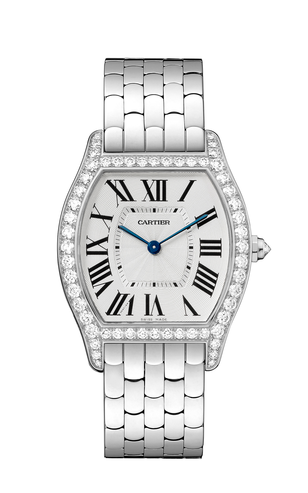 Tortue by Cartier, medium-sized model, white gold and diamonds