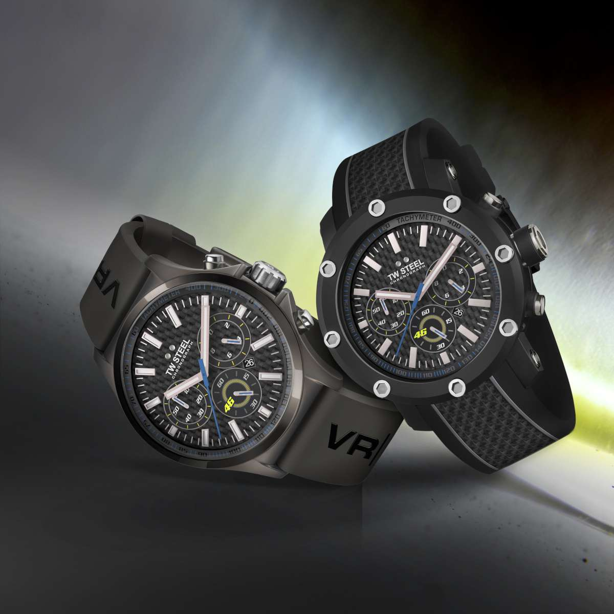 The TW Steel VR|46 / Yamaha Factory Racing watches, Pilot (left) and Tech (right)
