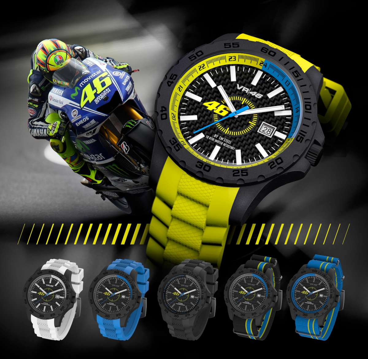 The VR|46 / Yamaha Factory Racing 'By TW Steel' collection, celebrating Valentino Rossi