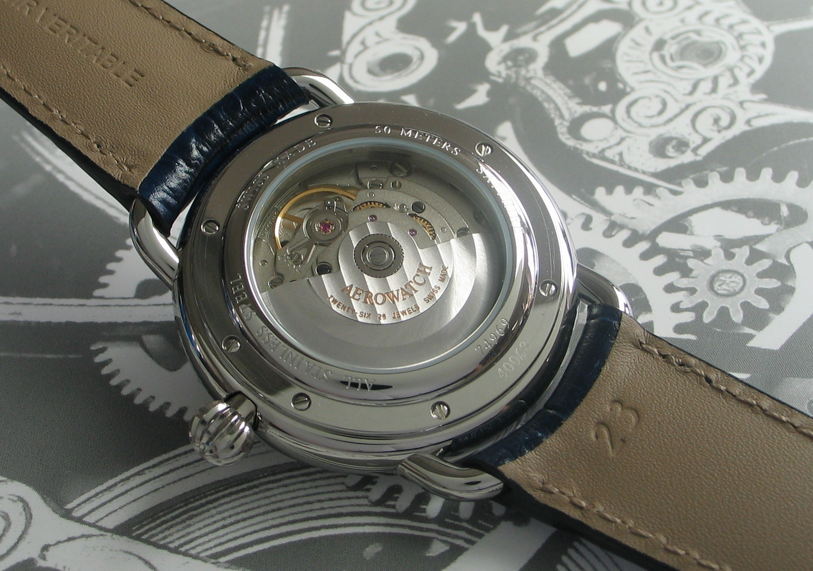 Caseback of the Aerowatch Moon Phase