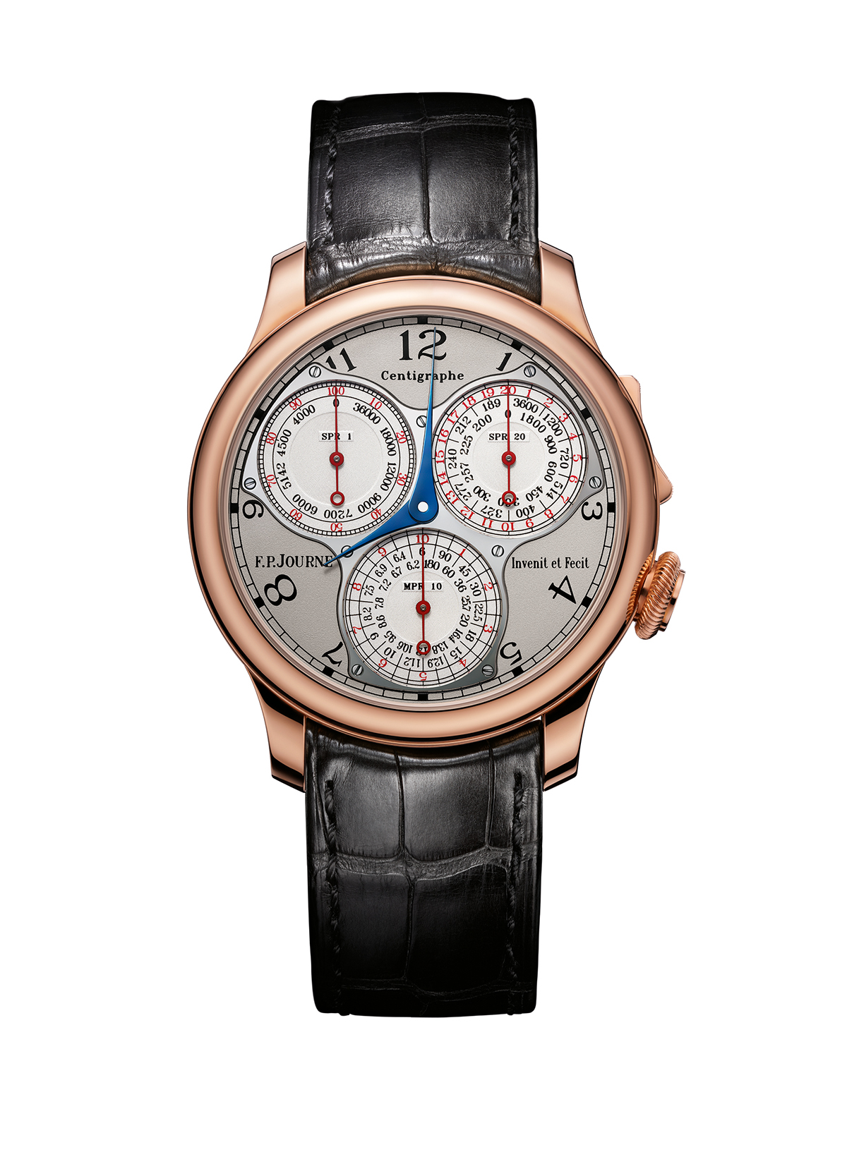 Silver-finish dial, rose gold case