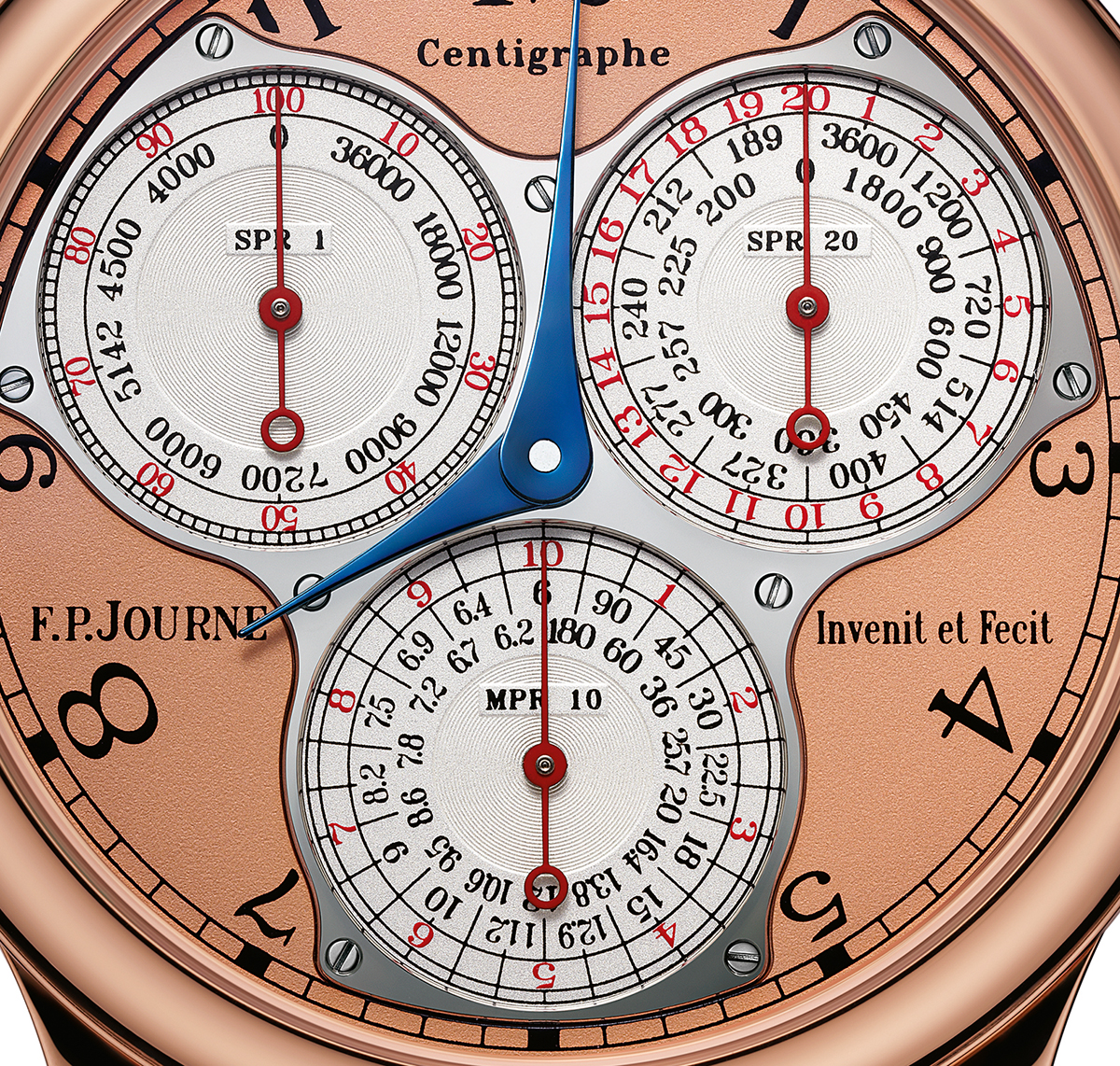 The three chronograph dials, for one second (top left), 20 seconds (top right), 10 minutes (bottom)