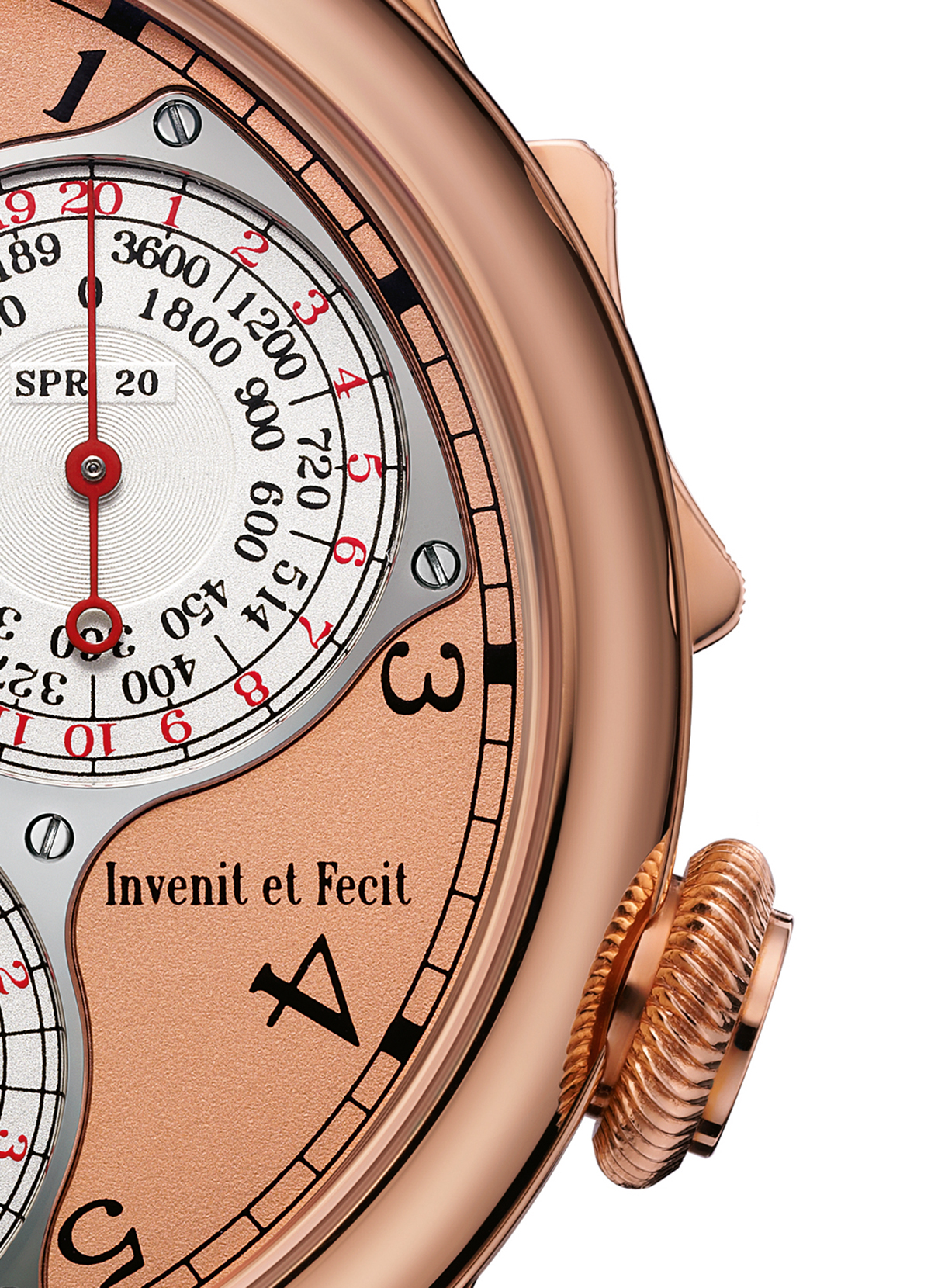 Detail showing the rocker at 2 o'clock for starting, stopping and resetting the chronograph, and the crown at 4 o'clock