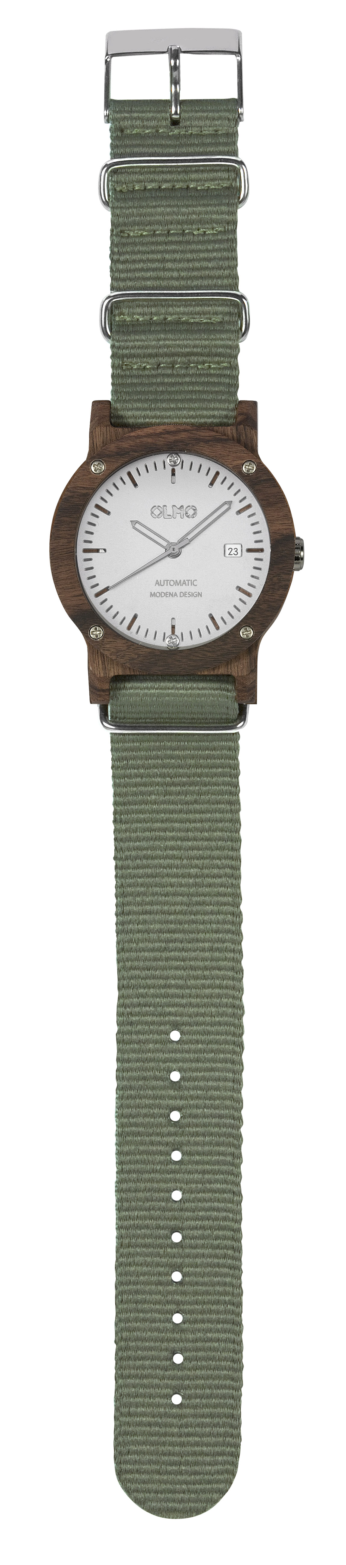 OLMO watch in rosewood, green strap