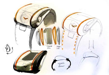 Design sketch of the co-branded watch revealing some of the similarities between car and watch