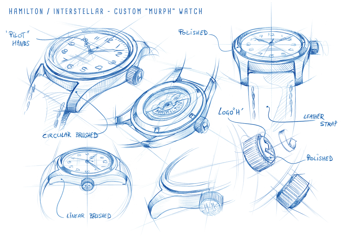 Drawings Hamilton Khaki Special Edition Interstellar_Worn by Murph (played by Jessica Chastain)_Original_10561_high_cmyk_10603