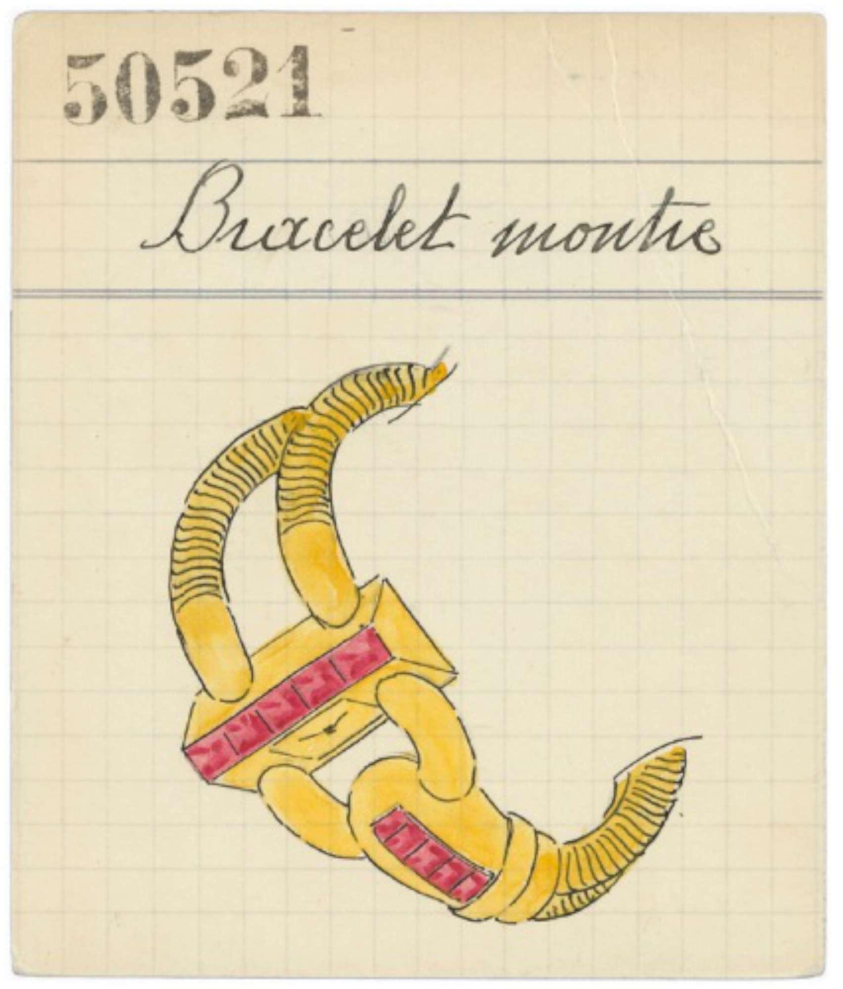 A 1939 design sketch for the Cadenas bracelet, courtesy of Van Cleef & Arpels