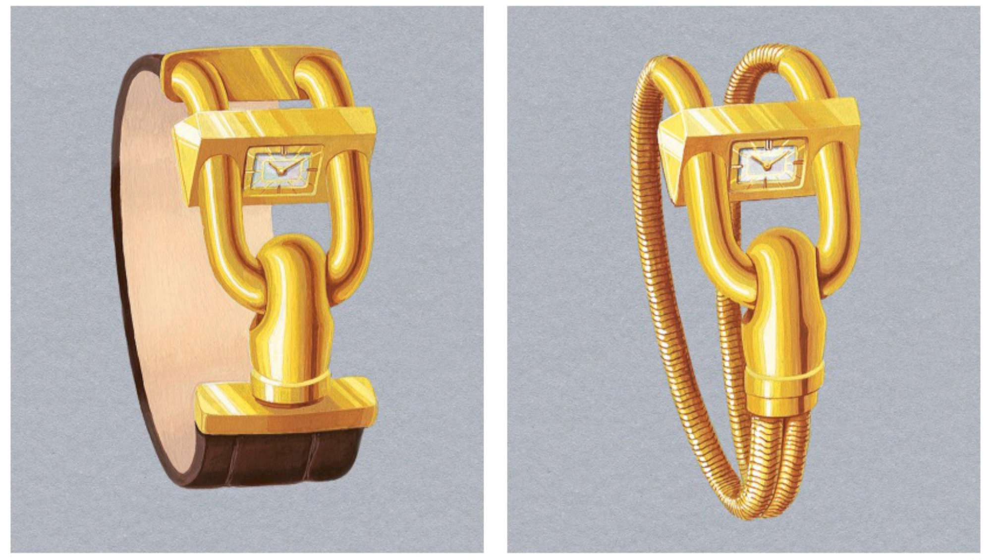 Design drawing of the new Cadenas series of bracelet-watches, showing the Cadenas on the left, and the Cadenas Bracelet Or on the right