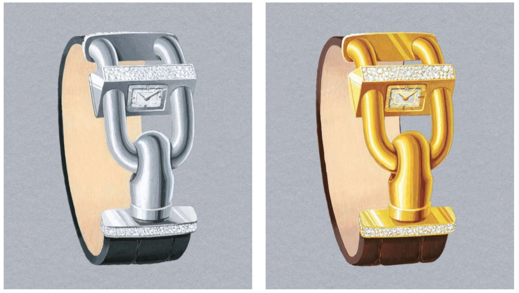 Cadenas Sertie, with snow-set diamonds on the top face of the watch, in white or yellow gold