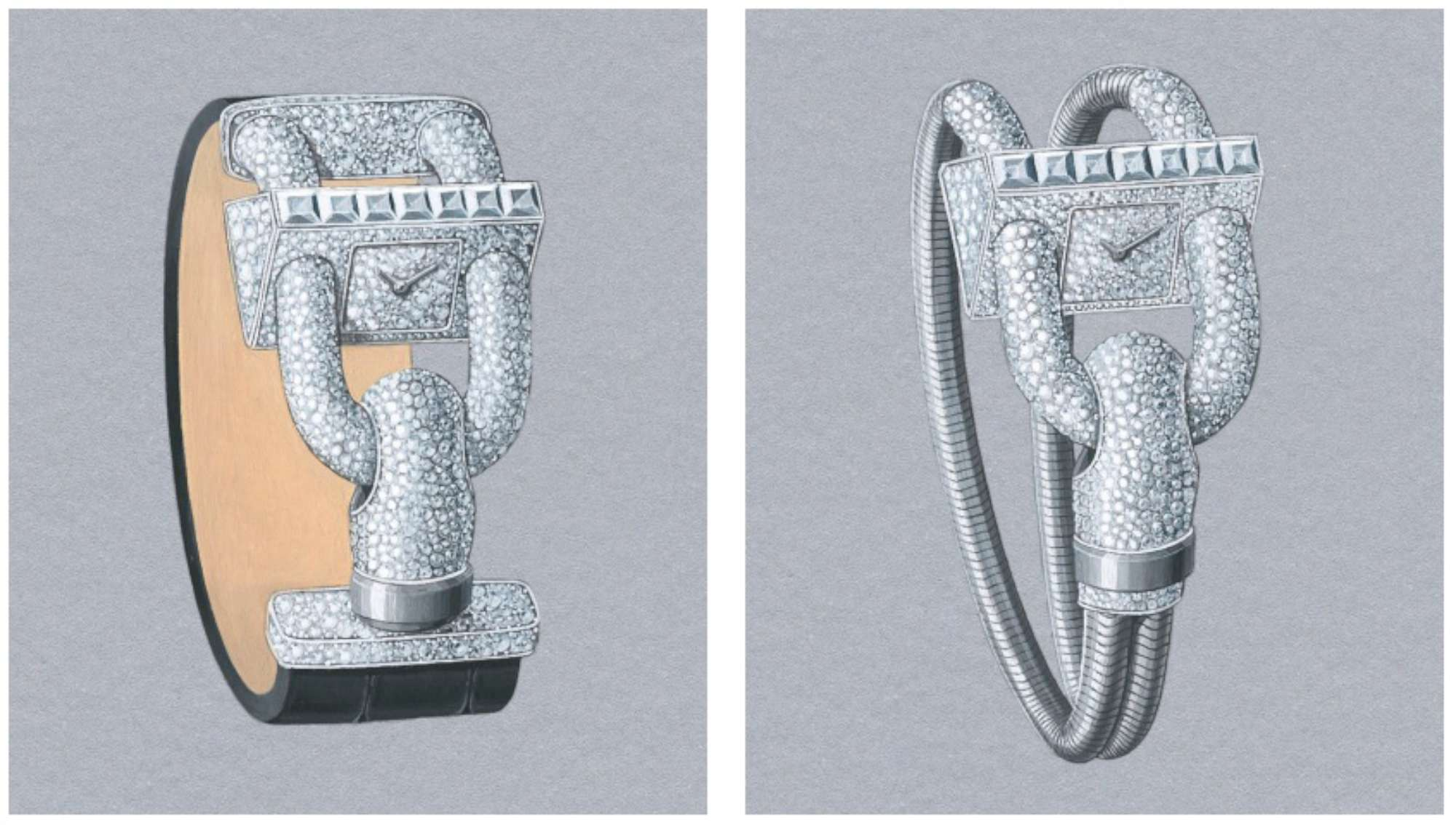 Cadenas Pavée (left) and Cadenas Pavée Bracelet Or (right), with Princess-cut diamonds on the top of the watch case, and snow-set diamonds covering much of the rest