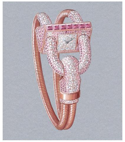 Cadenas Pavée Saphirs Roses Bracelet Or, in pink gold with diamonds, pink sapphires, quartz movement