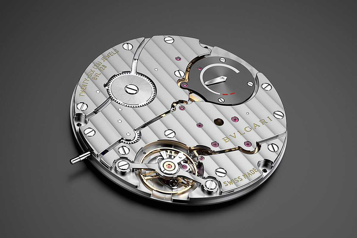 The movement, with the power reserve indicator