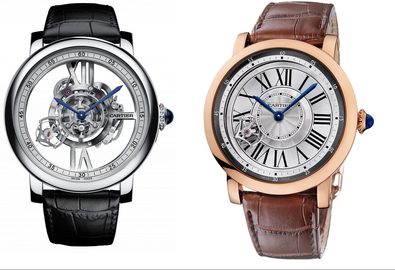 Comparison between the new Rotonde de Cartier Astrotourbillon Skeleton (left) and a previous version, reference W1556205
