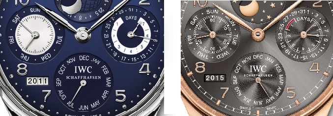 On the subdials in the new version (right), the lettering no longer flips from top to bottom