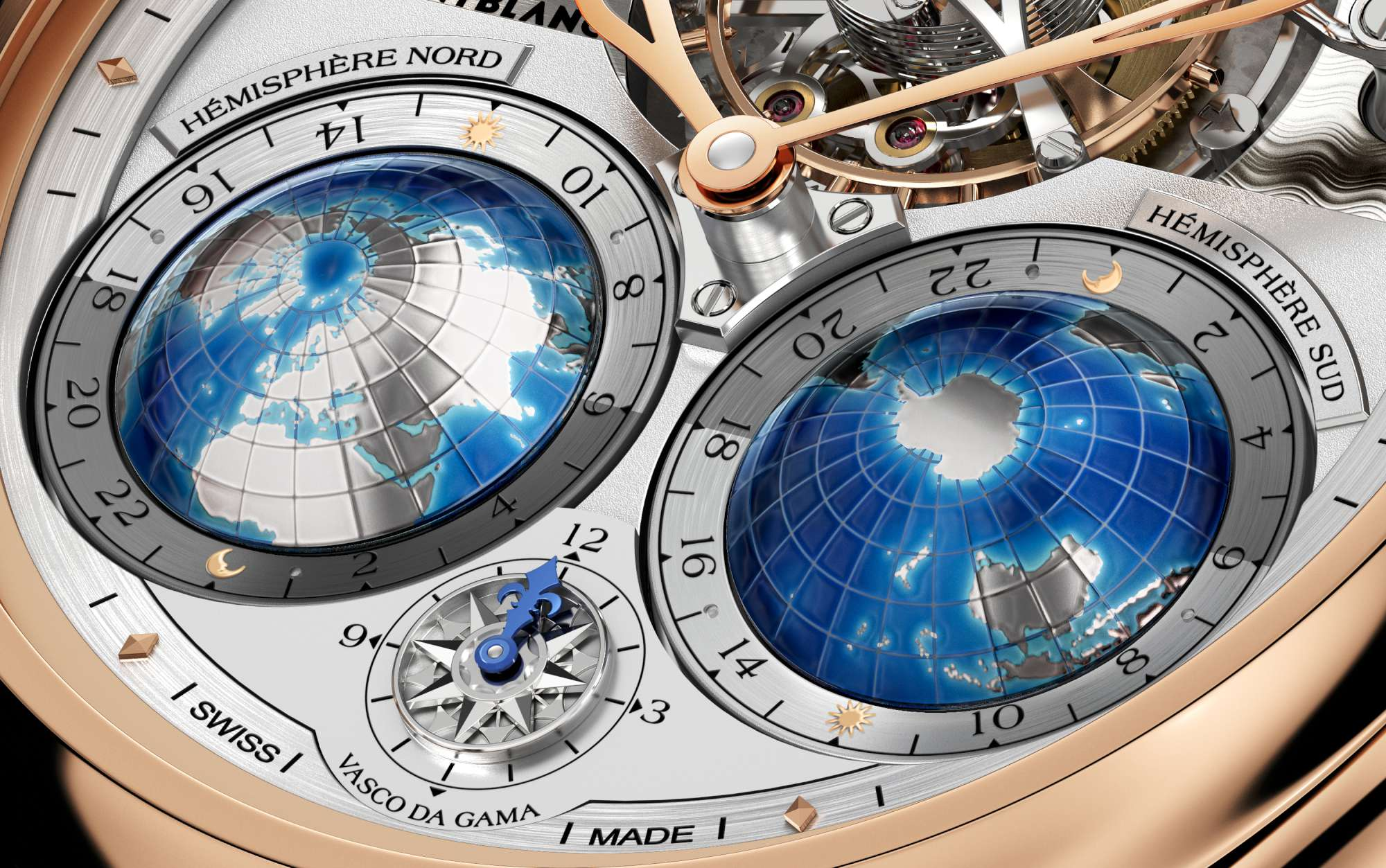 Montblanc Tourbillon Cylindrique Geosphères Vasco da Gama - Close-up Worldtime 111675-2000