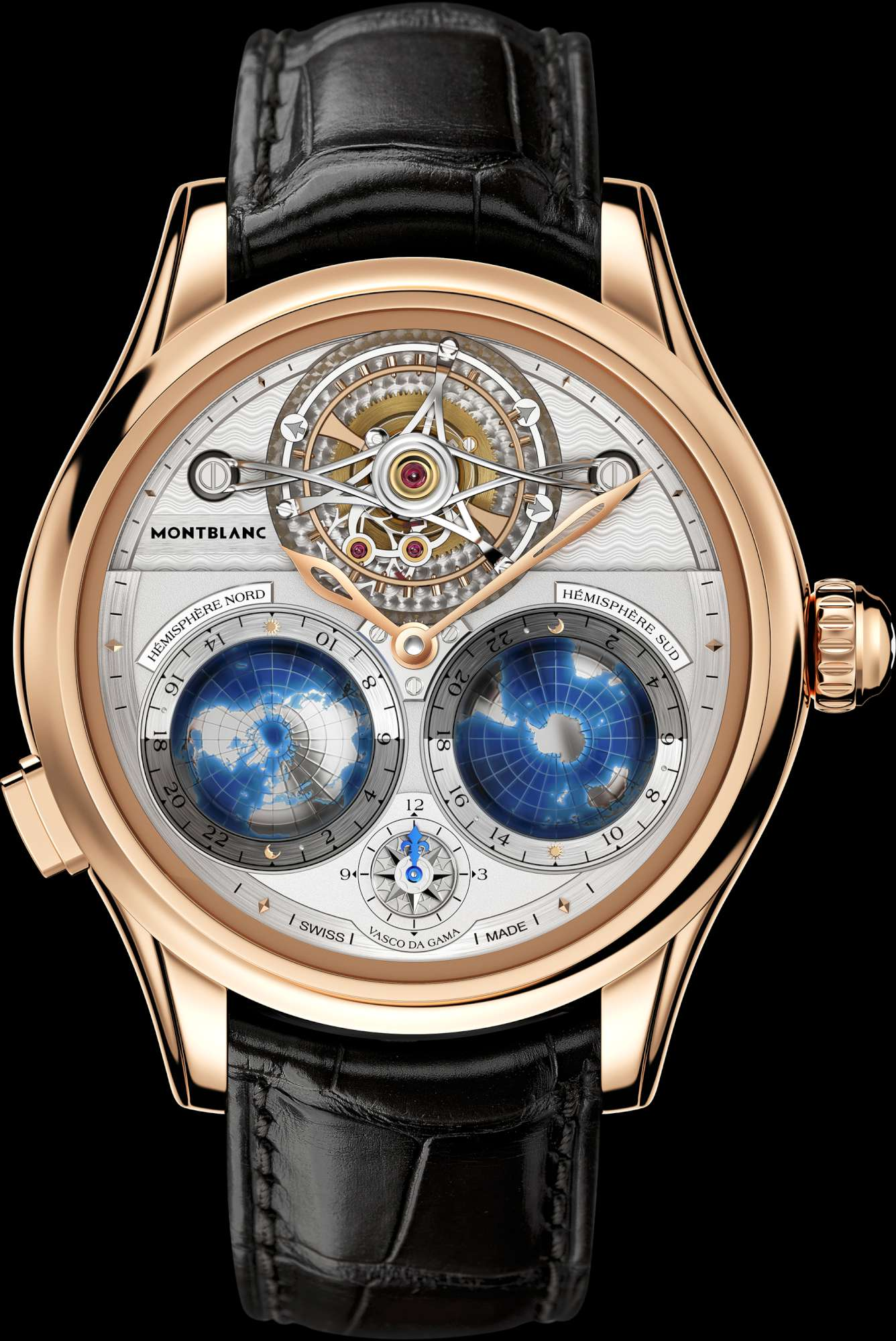 Sihh 2015 montblanc collection villeret tourbillon cylindrique geosph res vasco da gama time for Vasco watches