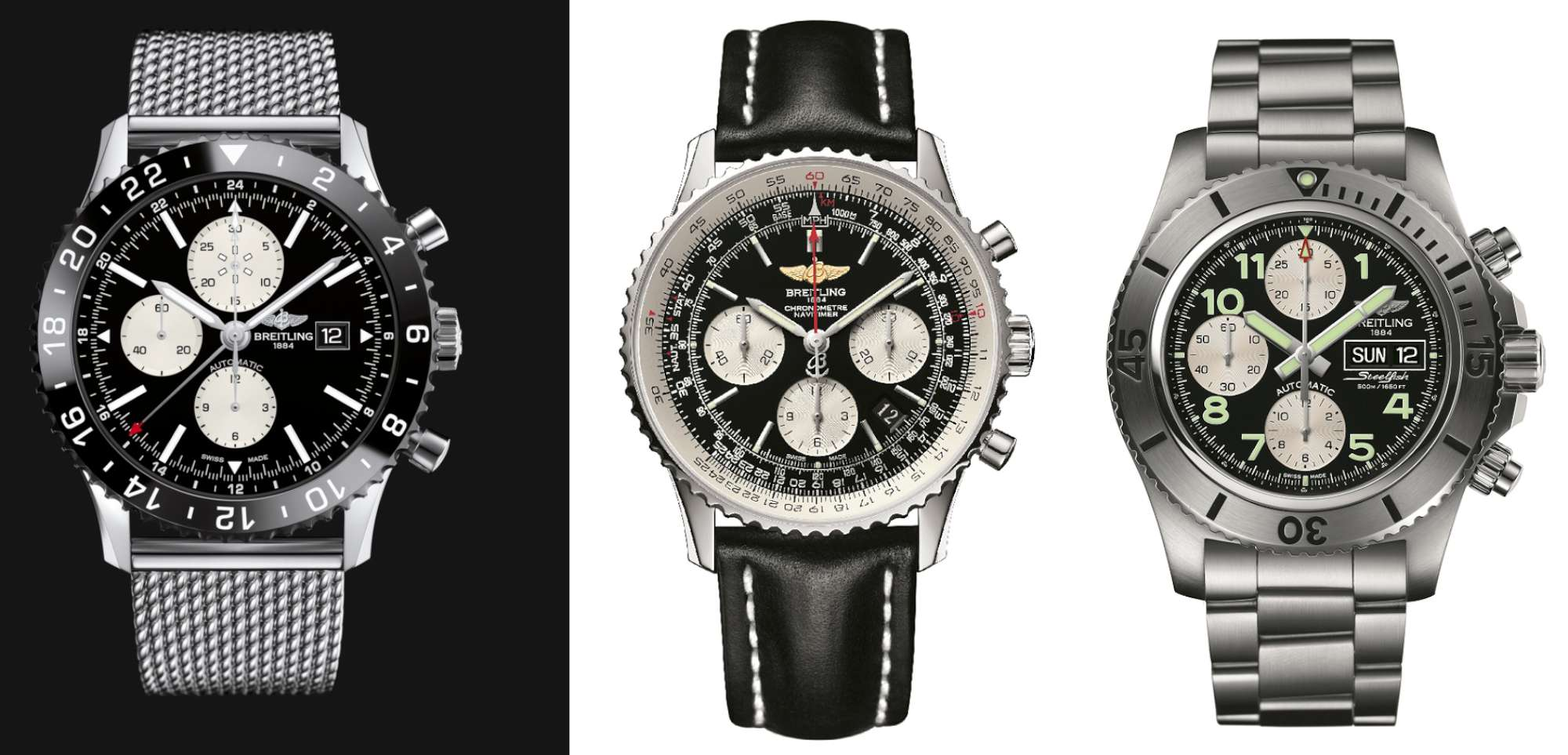 Comparison between the Chronoliner (left), the Navitimer (centre) and the Superocean Chronograph Steelfish (right)
