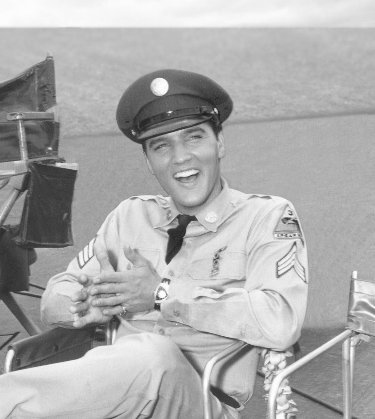 Elvis wearing his Ventura on the set of Blue Hawaii