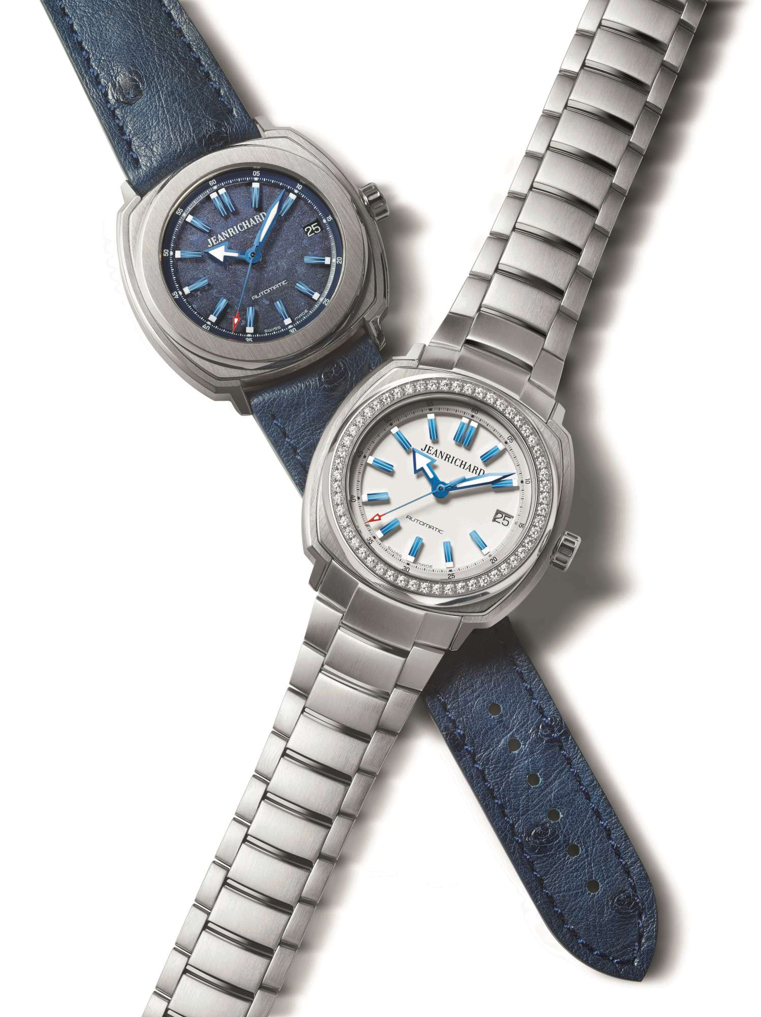 """The two new """"Blue Pieces,"""" with 39 mm case size, seen together"""