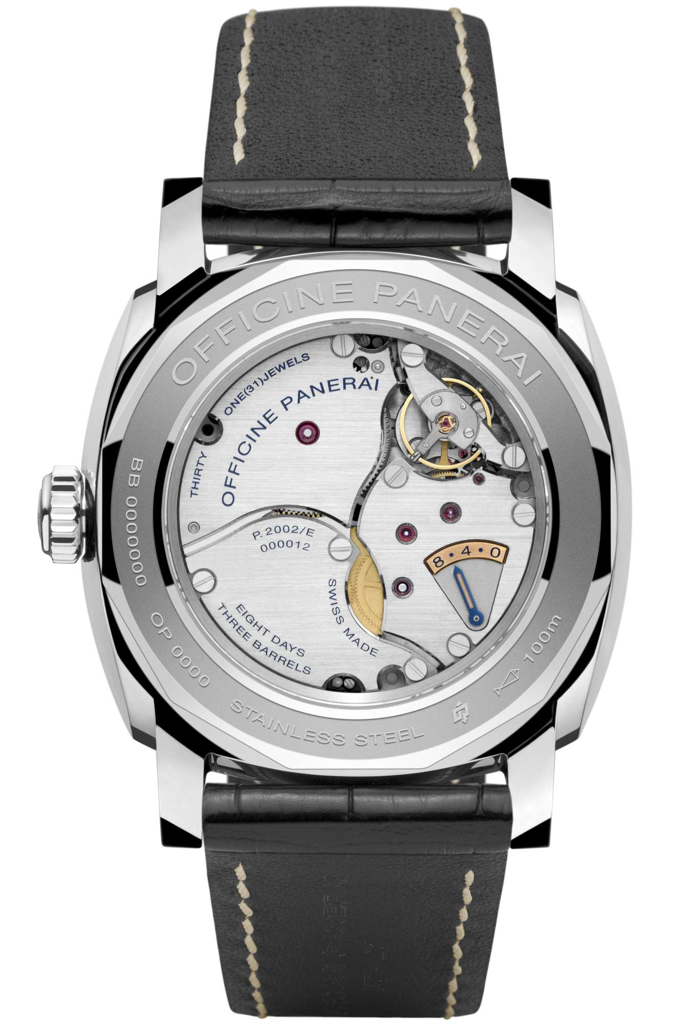 Back of the Radiomir 1940 Equation of Time 8 Days