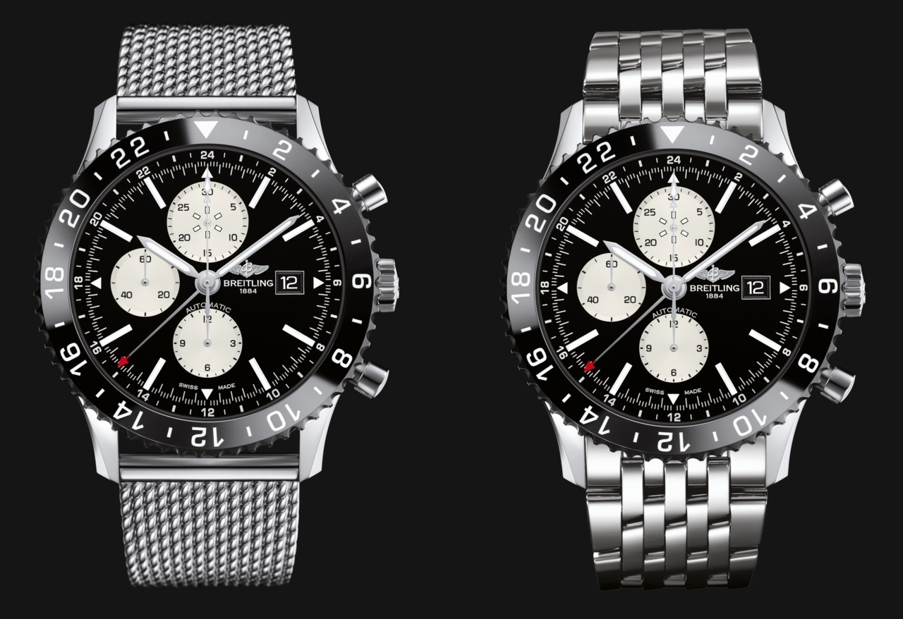 The two bracelet versions, Ocean Classi (left) and Navitimer (right)