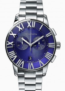 Part of the Atlas collection by Tiffany & Co., a stainless steel chronograph watch with quartz movement